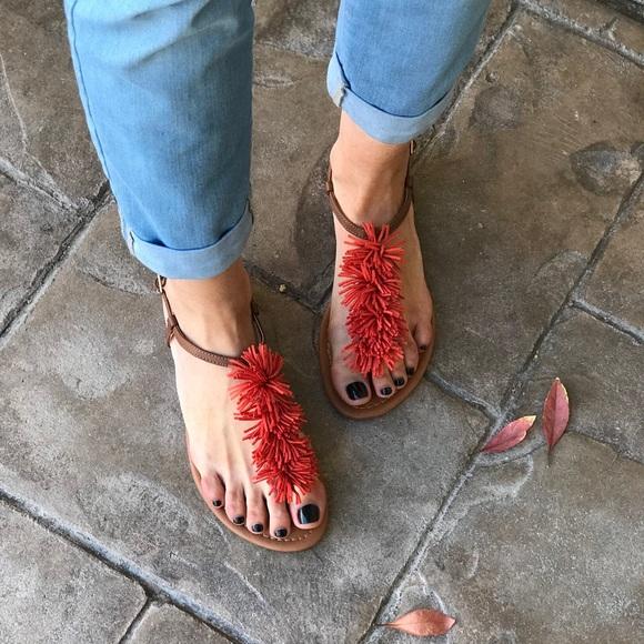 945101baf62a Rust Boho Chic Vive Fringe Thong Sandals